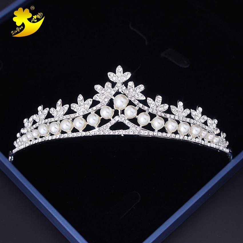 Xinyun Small Tiaras and Crowns Wedding Hair Accessories Pearls Tiara Bridal Crown Wedding Tiaras for Brides Hair Ornaments Hair
