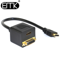 Hot NEW DVI Splitter 1 To 2 Port HDTV Female DVI D 24 1 Y Cable