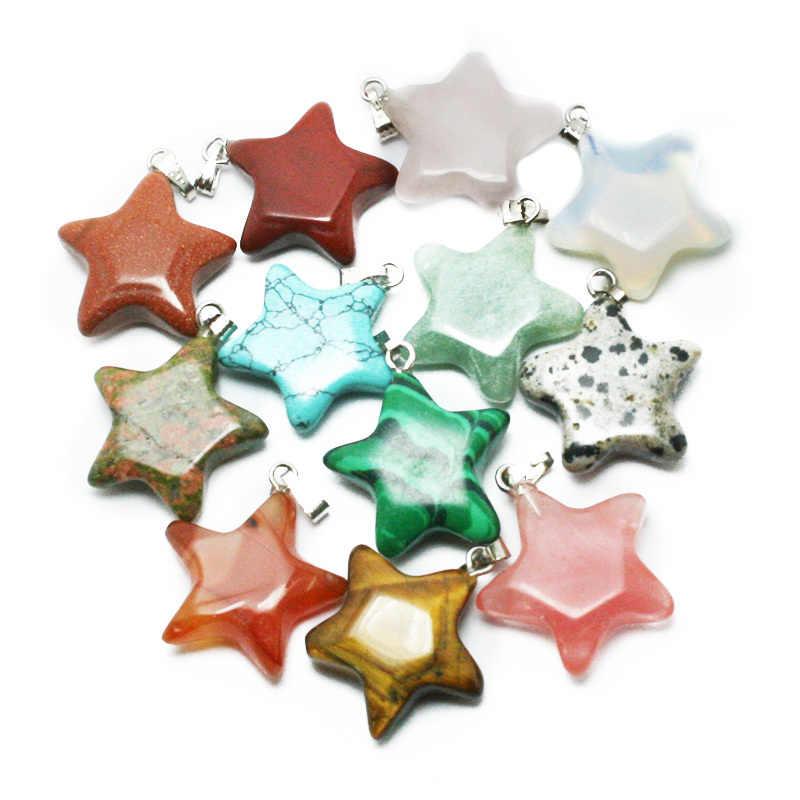 2015 新ファッション 20 ミリメートルクリスタルクォーツヒーリングポイント自然星型宝石ビーズ石ペンダントネックレス BTB694