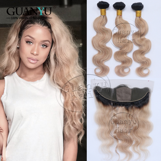8A Cheap Malaysian Virgin Hair Body Wave Bundles With 13x4 Silk Base Frontal Closure Ear to Ear Ombre #1B/27 Honey Blonde Colo