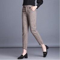 Womens street style Fall Winter Straight leg Pants Fashion Plaid Striped Korean Woolen Trouser Girl Plus Size pants xxxl xxxxl