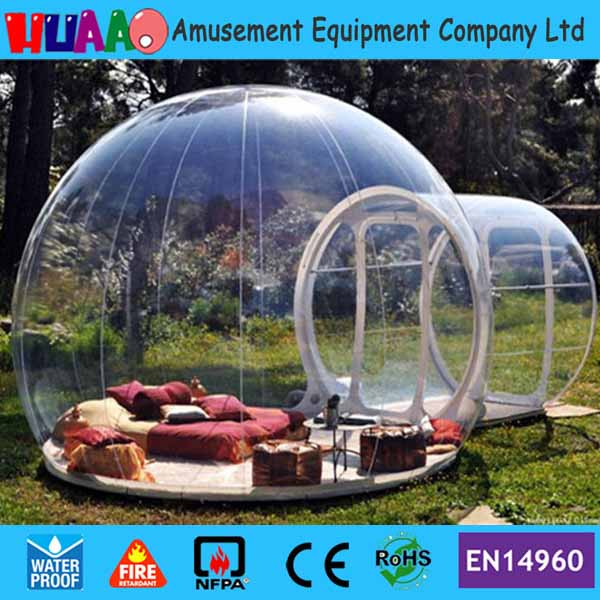 Free shipping 0.8mm PVC 6*4m Transparent Inflatable Bubble Tent with free CE/UL blower and PVC bag repair kit