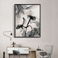 Abstract Ink Painting Transparent Flowers Full Diamond Painting Chinese Style Living Room Decoration Round DIY Diamond