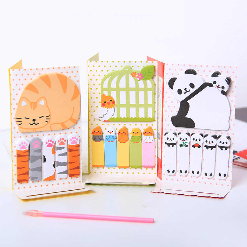 1PC mignon chat Panda N Times Notes autocollantes bloc-Notes papier autocollant bloc-Notes cadeau bureau papeterie Escolar