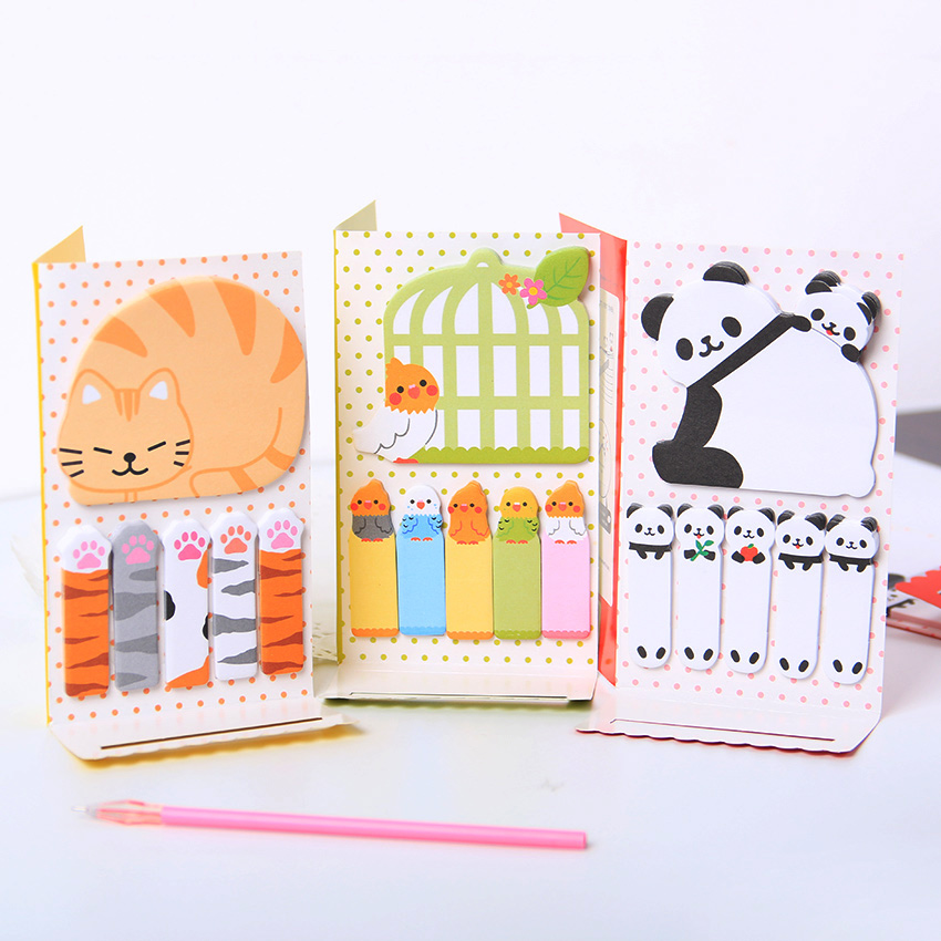 1PC Cute Cat Panda N Times Sticky Notes Memo Pad Paper Sticker  Notepad Gift Office Stationery Escolar