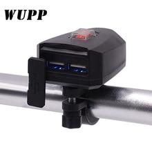 WUPP 10 V 80 V รถจักรยานยนต์ 2.4A Dual USB Power Charger สกูตเตอร์ Handlebar USB Moto อุปกรณ์เสริมมอเตอร์ไซค์ USB charger