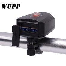 WUPP 10 V 80 V Xe Máy 2.4A Dual USB Chống Nước Sạc Xe Tay Ga Tay Cầm USB Moto Phụ Kiện Xe Máy USB sạc