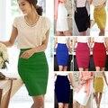 2016 Pencil Skirt  Women Plus Size High Waist Slim Hips Candy Color Formal Saias Feminino Lady Classic Knee Length Office Skirts