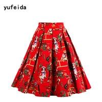 YUFEIDA 50s 60s Vintage Skirt Women Retro Rockabilly Floral Print Retro Elegant High Waist Flower Print