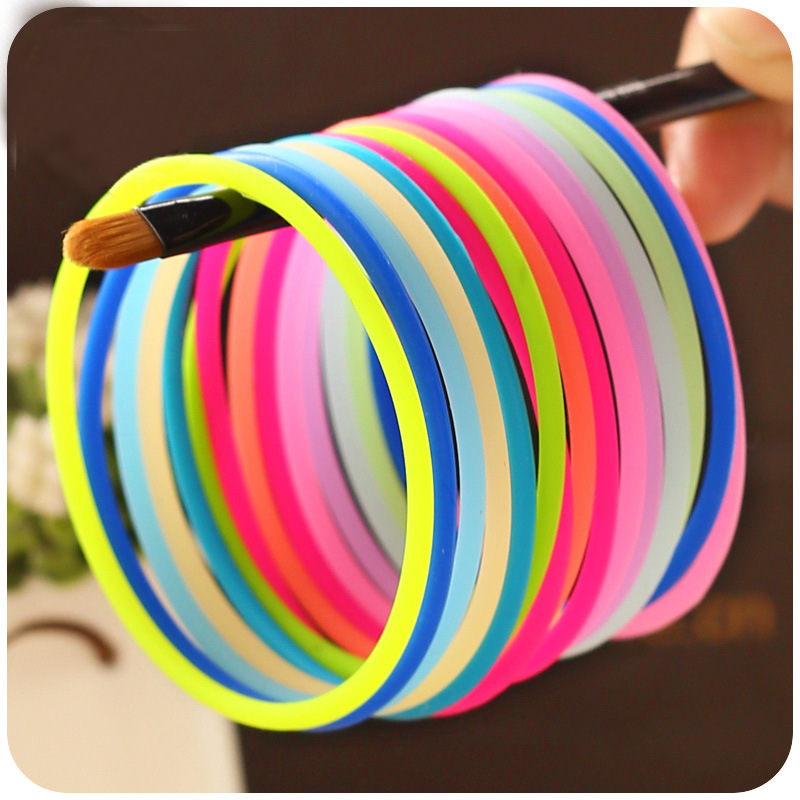 Mix 10pcs Sweet Candy Colors Glow Bracelet Elastic Hair Bands For Girls Women Rubber Band Luminous Thin Wristband Bangle Gift