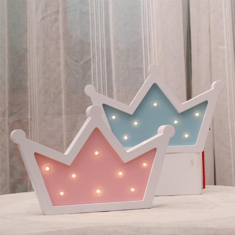 Wooden yellow crown LED night light children 's room ...