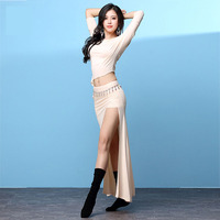 Half Sleeve Off Shoulder Costume Performance Wear Sexy Belly Dance Long Placketing Skirt 2pcs Set For