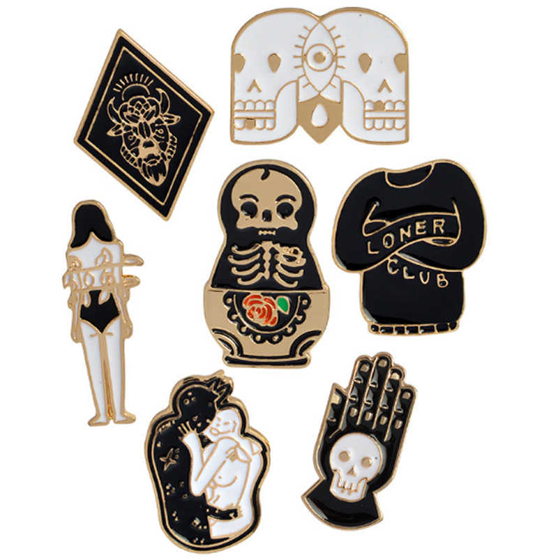 LNRRABC Creative Skull ตุ๊กตา Totem สาวการ์ตูนเข็มกลัดผู้หญิง Denim เสื้อผ้า Badge Pins ปุ่มเครื่องประดับของขวัญเด็กเพื่อน