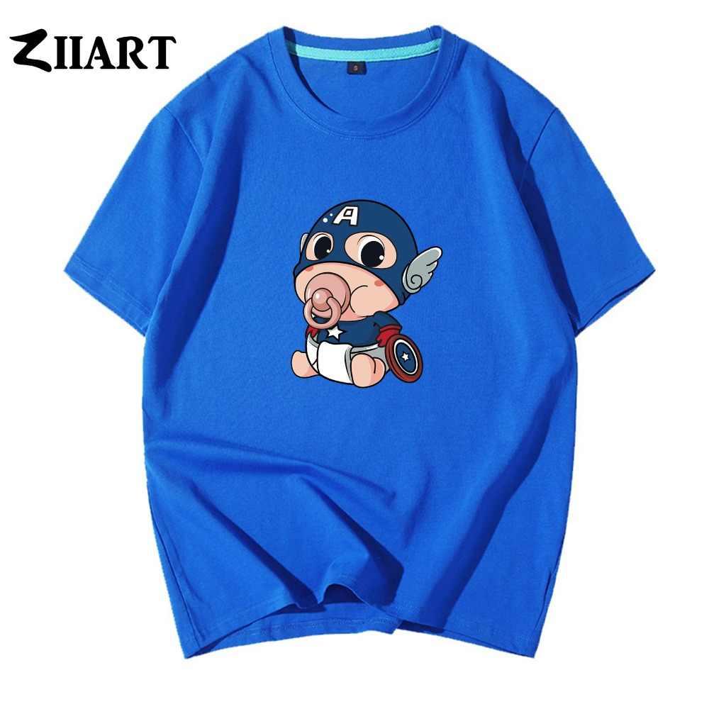 Nipple Diapers Cartoon Baby Captain America Shield Couple Clothes Boy Man Summer Short-Sleeve T-Shirts ZIIART