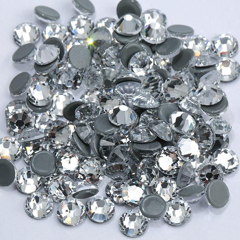 Vidro claro hotfix strass volta plana ferro em pedras de cristal strass ss16 ss20 ss30 quente fix strass para decorações de roupas