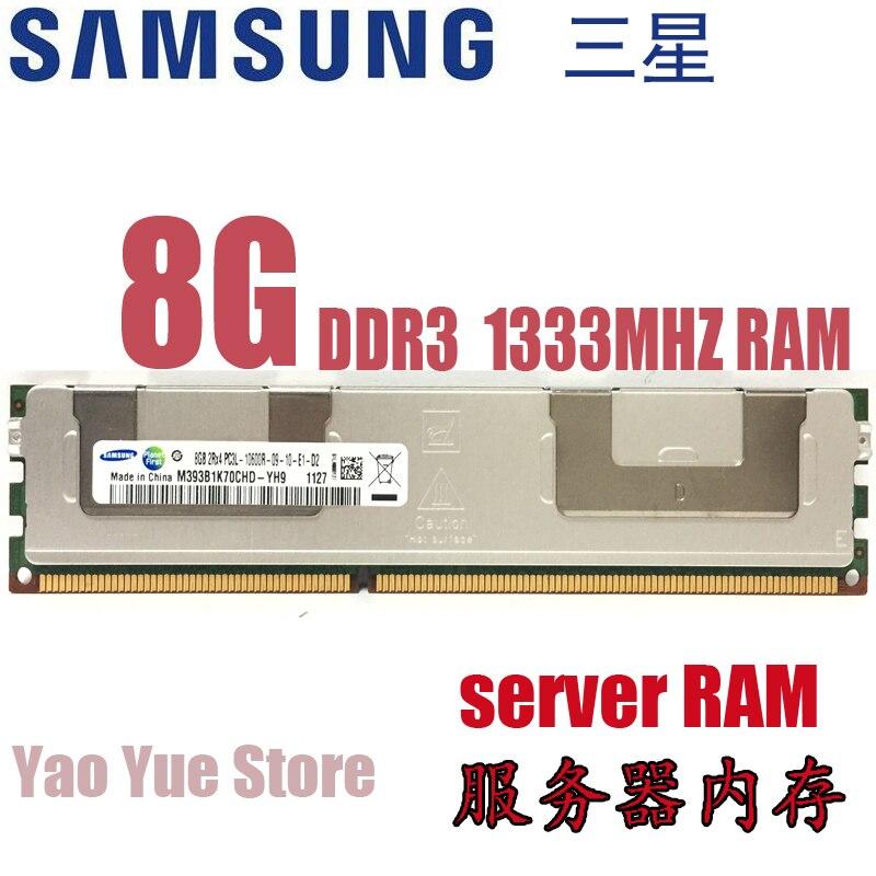 Livraison gratuite Pour Samsung 8 GB PC3 ou PC3L 10600R DDR3 1333 MHz 8G REG ECC serveur mémoire RAM 100% travail normal