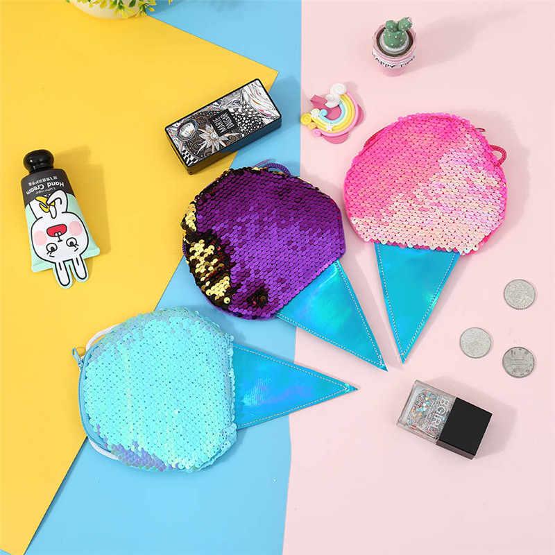 Sequins Children Crossbody Bag Ice Cream Leather Mini Handbag Card Holder Cartoon Coin Purse Women Shoulder Bag Kid Gift