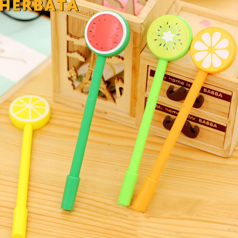 4 Pcs/Lot Novelty Fruit Head Gel Pen Summer Style Black Ink Pens For Signature Stationery Office School Supply CL-1048