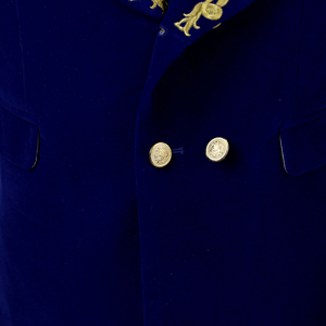 Image 4 - PYJTRL Mens Shawl Collar Royal Blue Suede Embroidery Loose Suit Jacket Stage Show Singer Double breasted Men Blazer Designs