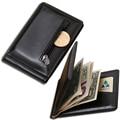Garantia de qualidade de couro clipe de dinheiro com moeda do bolso braçadeira para o dinheiro do estilo do negócio de couro bolsa com clip preto homens presente