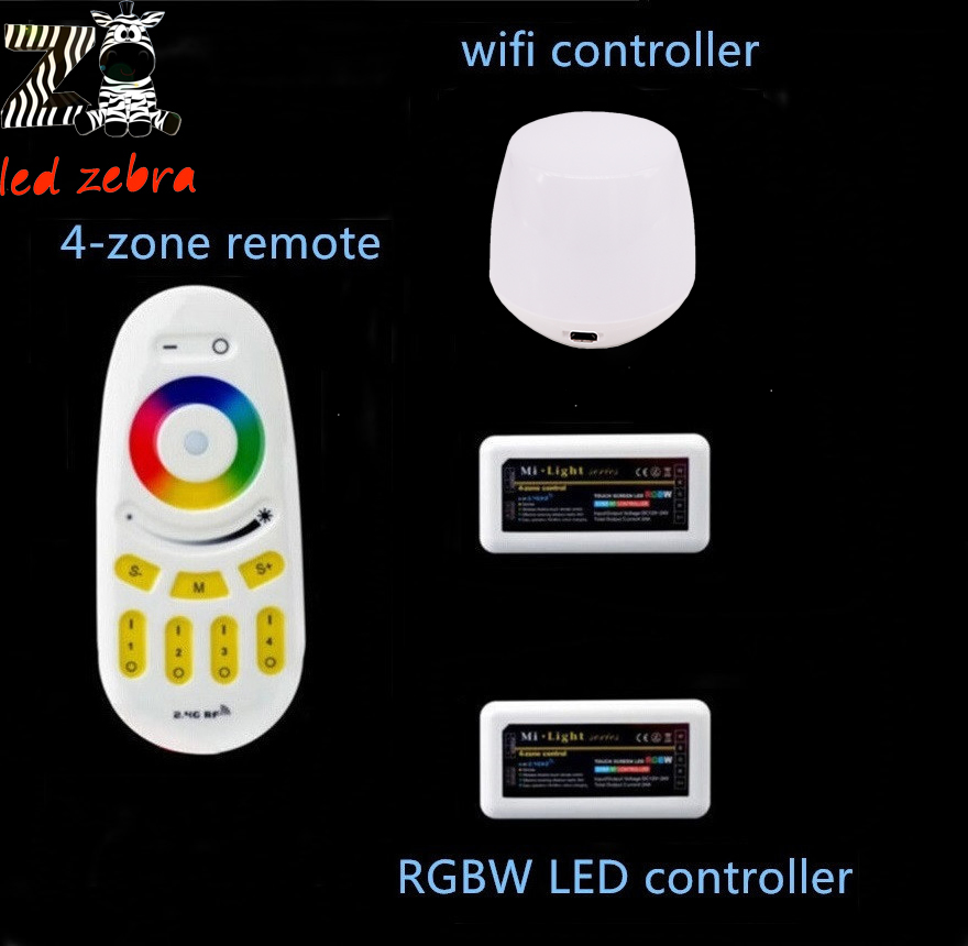 mi.light 2.4g wireless remote controller+rf wifi ibox led controller+2pcs rgbw 4-zone led controller for rgbw led strip milight remote wifi 4x rgbw led controller group control 2 4g 4 zone wireless rf touch for 5050 3528 rgbw led strip light