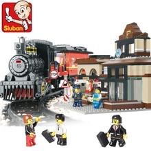 Model building kits compatible with lego Explorers League Train 3D blocks Educational model building toys hobbies for children