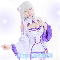 S XL New Re:Zero kara Hajimeru Isekai Seikatsu Emilia Cosplay Costume Fancy Dress+Elf Ears Halloween Adult Costumes for Women