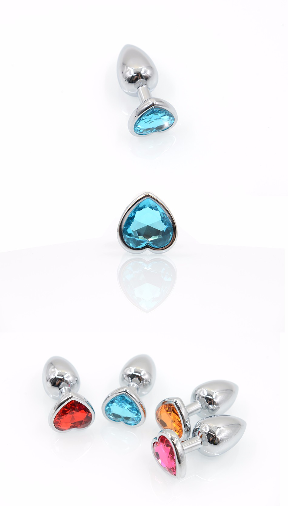 AuReve Hot Sale Smooth Steel Anal Plug Pretty Crystal Heart Shaped Jewelry Metal Butt Plug Sex Toys For Men Women Free Shipping 5
