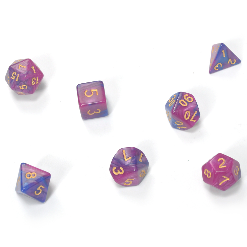 7 Pcs Multi-sided Dice Set Metal Polyhedral Dices Game,Random Numbers,Red Copper