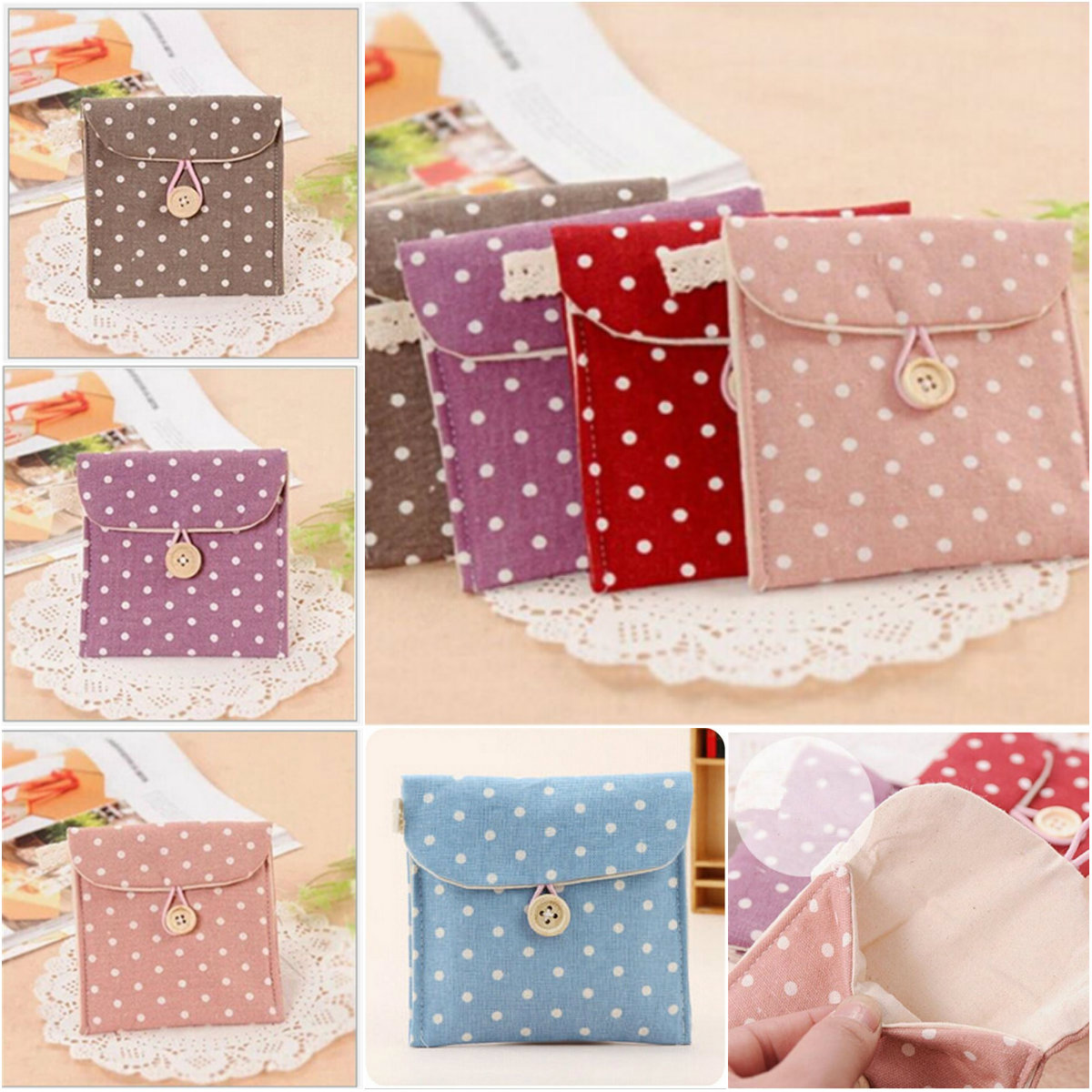 Lovely Women Girl Cute Sanitary Pad Purse Holder Napkin Towel  Bags Cosmetic Pouch Case Sanitary Napkin Bag