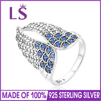 LS Sterling Silver Women's Rings Angle Feather Shape With Blue Crystal Rings Silver 925 Fine Jewelry