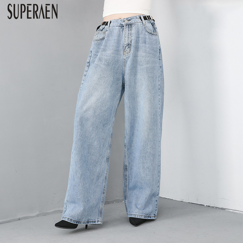 SuperAen Europe Women's Jeans Wild Casual Fashion 2019 Summer New Ladies Jeans Loose Pluz Size Wide Leg Pants Female
