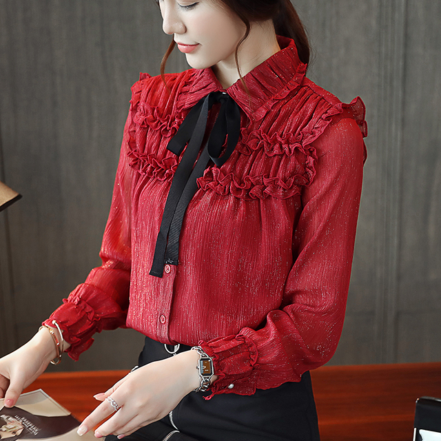 ce09a8d3a44113 2018 Autumn Long Sleeve Turn Down Collar Shiny Red Chiffon Shirts Women  Office OL Ruffles Red Chiffon Blouses Lady Bow Tie Tops