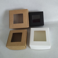 4 Size 3 Colors Folding Kraft Paper Box With PVC Window Blank Paper Box Jewelry Handmade Soap Gift Storage Boxes