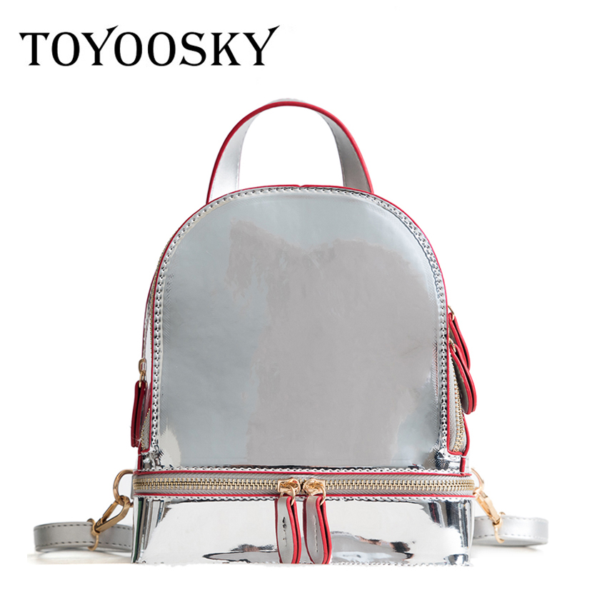 TOYOOSKY High Quality Patent Leather Mirror Backpack Women Solid Casual Female Schoolbag Teenage Girls Shoulder Bags Sac a dos