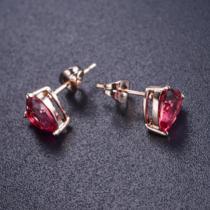 New red zircon love earrings female simple temperament alloy earrings popular earrings LBA09