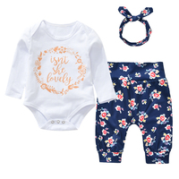 1 Year Birthday Infant Baby Boy Girl Unisex 3pcs Clothing Sets Cotton Rompers Pants Heandband Long Sleeves Letter Pattern Deal