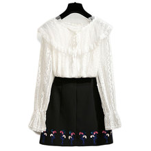 2019 spring women new lace white blouse top & flower black skirts two-piece outfit Korean fashion clothes clothing set S-XL