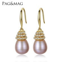 PAG&MAG Brand Luxury 10-11mm Freshwater Pearl Earrings 925 Sterling Silver Classic Jewelry Earrings for Women Factory Wholesale