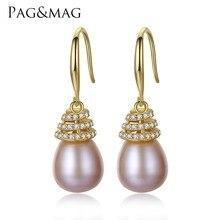 PAG y MAG Marca de Lujo 10-11mm de Perlas de Agua Dulce Pendientes de Plata de Ley 925 Joyería Clásica Pendientes para Las Mujeres fábrica Al Por Mayor
