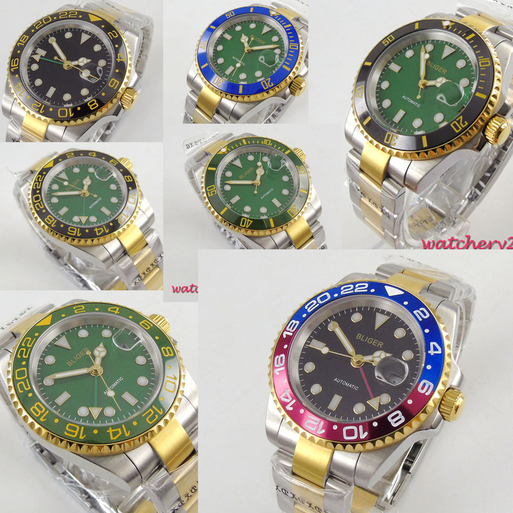 40mm BLIGER Black Green Blue Dial Sapphire Glass Date Rose Golden Plated Deployment Luxury Brand Automatic Movement mens Watch