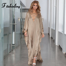 Fitshinling Lace Up Loose Maxi Dress Women 2019 Autumn Robe Beach Tunic Side Split Straight Long Dresses For Women Clothing Sale