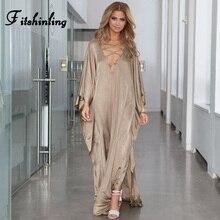 Fitshinling Vestido largo holgado de encaje para mujer, Túnica de playa con abertura lateral, vestido largo recto, ropa de mujer 2019