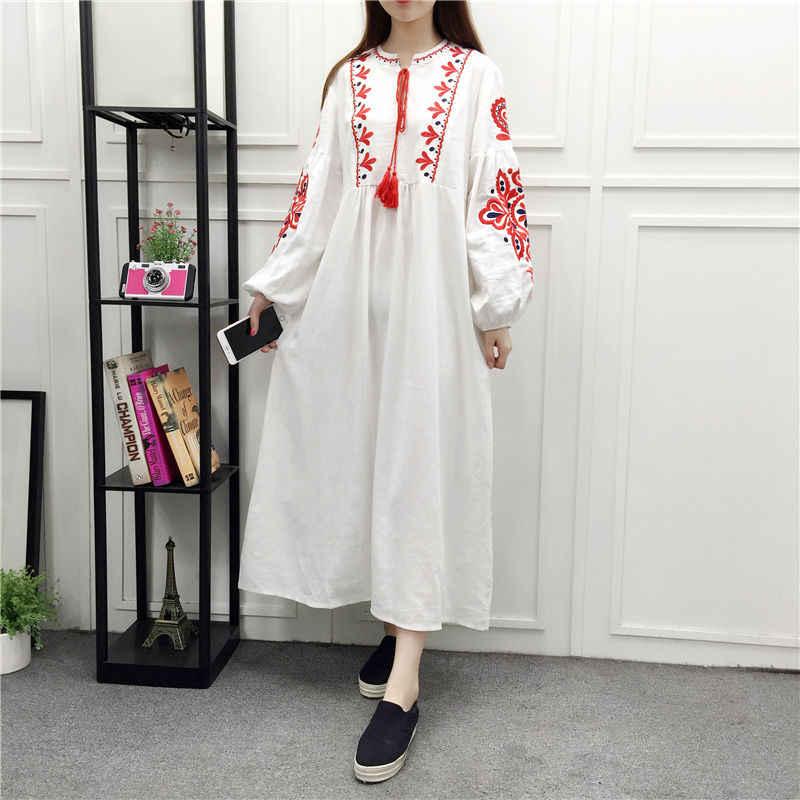 22c5d473ab55 ... TingYiLi Floral Embroidered Ethnic Dress Cotton Linen Lantern Long  Sleeve Maxi Dress Black Blue White Loose ...