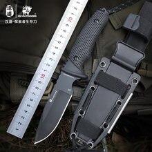 Hx наружный фиксированный нож с лезвием d2 резиновая ручка многофункциональные