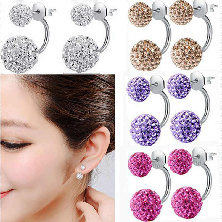 New Fashion Shambhala Double Sided Sythetic Crystal Ball Stud Earrings for Women Wedding Jewelry Gift Wholesale