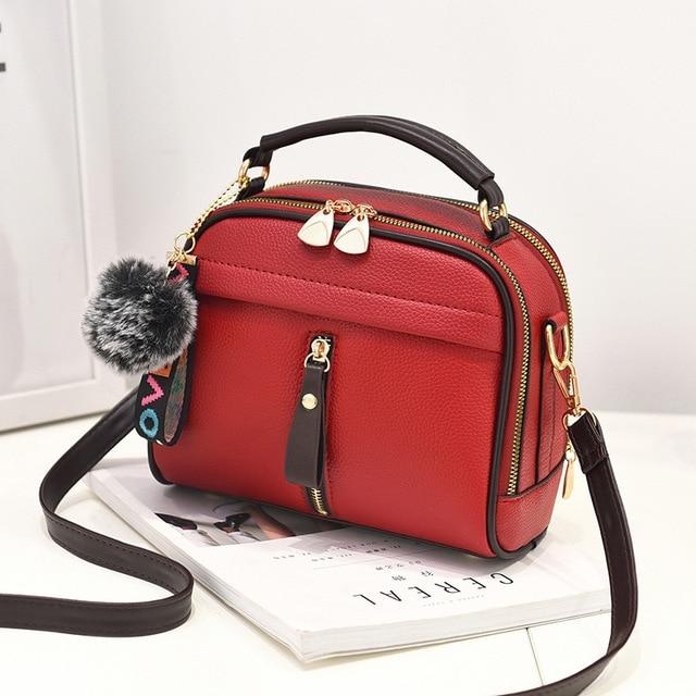 Fashion Women Handbag PU Leather Women Messenger Bags With Ball Toy Female Shoulder Bags Ladies Party Handbags 2019 5
