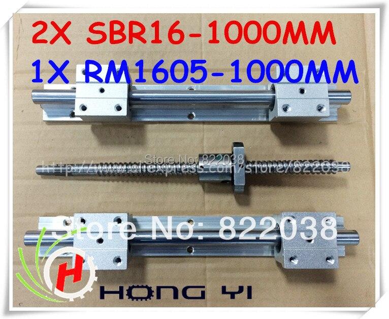 2 X SBR16 -L1000mm linear rail support with SBR16UU linear block + 1 X SFU1605 -L1000mm Ball screw for CNC X Y Z Axis