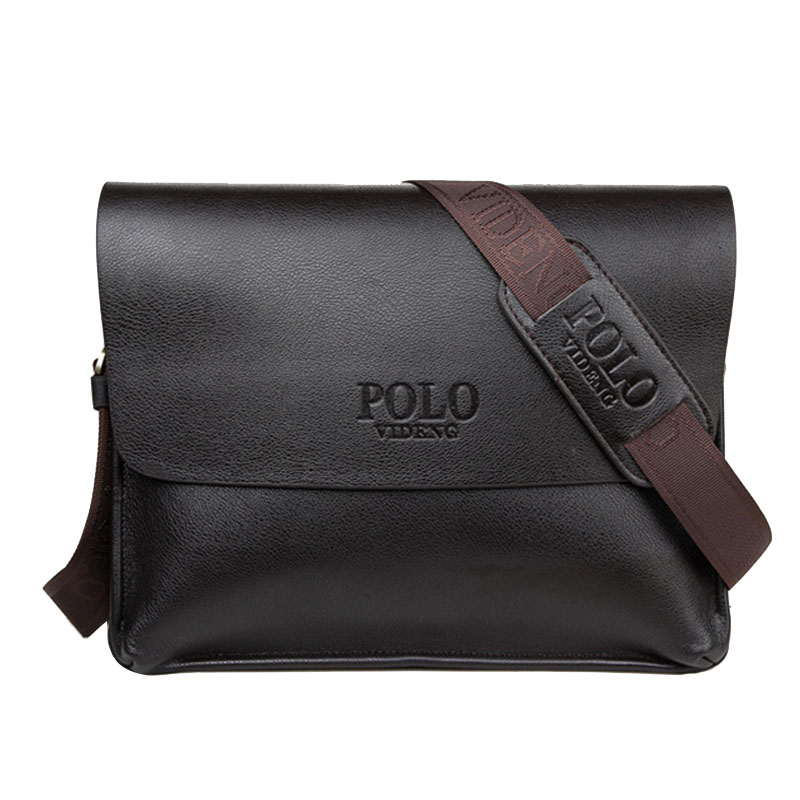 2016 new designers POLO VIDENG brand PU leather black brown quality men's messenger shoulder handbag bags briefcase VP-1