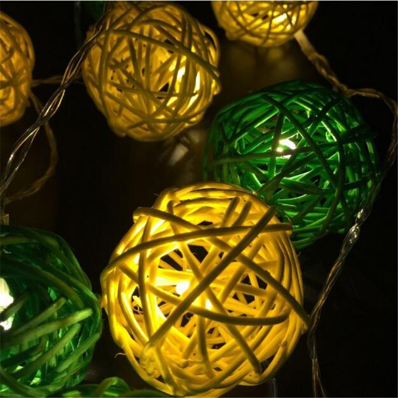 3M 20 LED Warm White 4cm Rattan Ball LED String Lighting Holiday - Festlig belysning - Foto 5